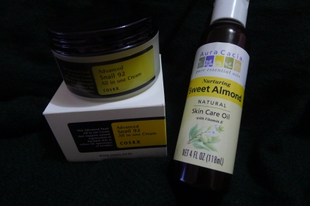 Cosrx Advanced Snail 92 All In One Cream and Aura Cacia Nurturing Sweet Almond Oil